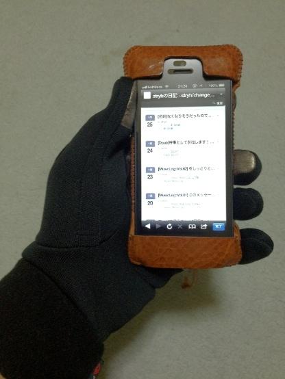 THE NORTH FACEのスマホ用手袋をつけてiPhoneを持ってみる