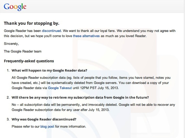 Thank you for stopping by - Good bye, Google Reader