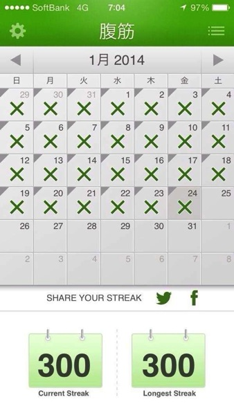 1月の記録 - 腹筋300日続いたよ! - 視線きらさずコツコツの成果