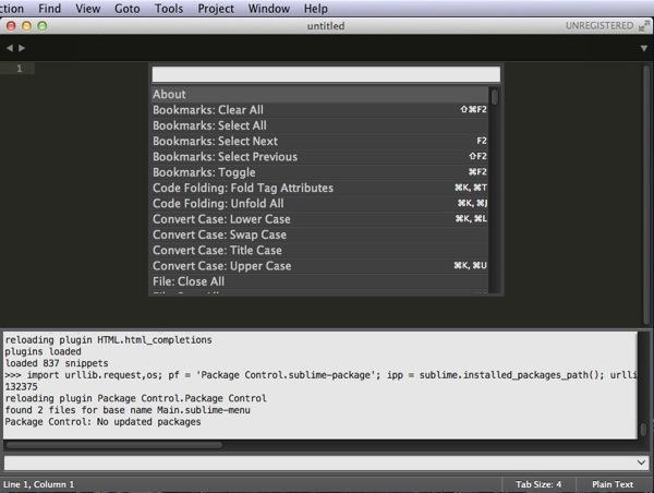 コマンドパレット表示 - Sublime Text 3を再インストール!