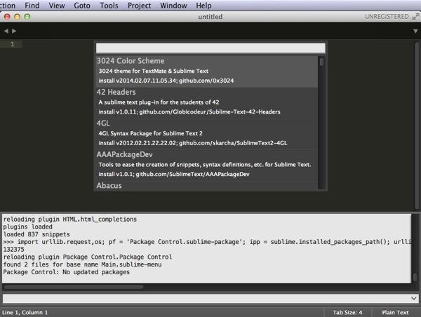 プラグイン一覧表示 - Sublime Text 3を再インストール!
