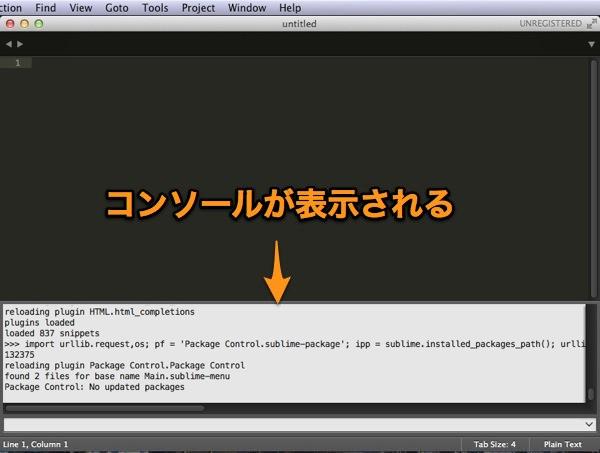 コンソール表示 - Sublime Text 3を再インストール!