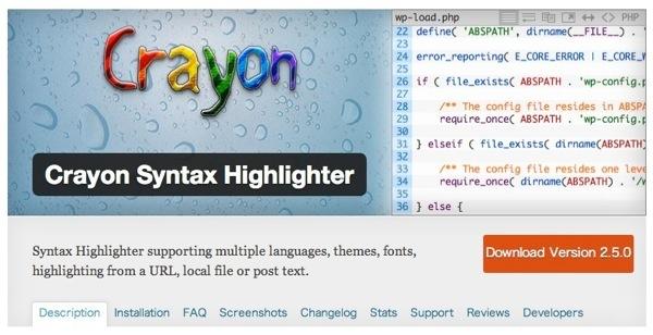 Crayon Syntax Highlighterを導入 – コードをハイライトするタグの書き方が簡単!そして表示の動作が軽い!気に入った!